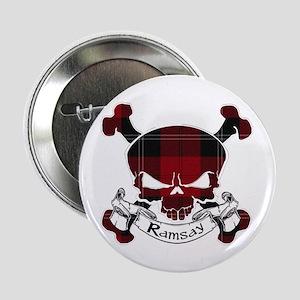 """Ramsay Tartan Skull 2.25"""" Button"""