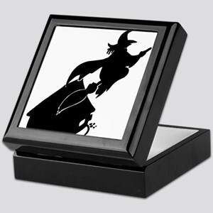 Flying Witch over House Silhouette Keepsake Bo