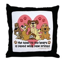 The Road To My Heart Dog Paw Prints Throw Pillow
