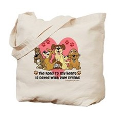 The Road To My Heart Dog Paw Prints Tote Bag