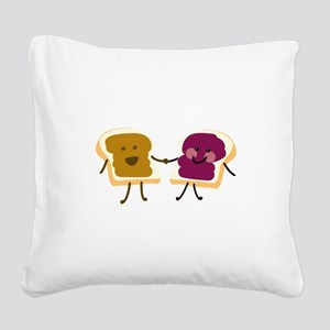 Peanutbutter and Jelly Square Canvas Pillow
