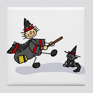 Stick Figure Witch with Cute Cat Tile Coaster