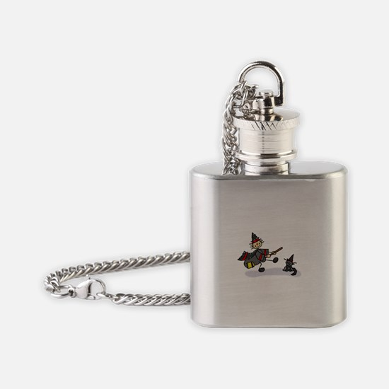 Stick Figure Witch with Cute Cat.png Flask Necklac