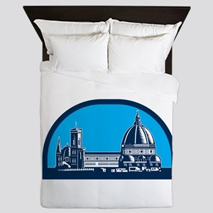 Dome of Florence Cathedral Retro Woodcut Queen Duv