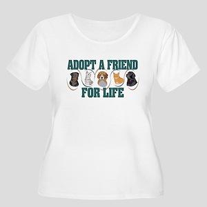 Adopt A Friend Women's Plus Size Scoop Neck T-Shir