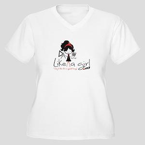 Add Like A Girl! Women's V-Neck Plus Size T-Shirt