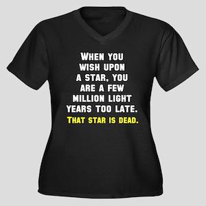 When you wis Women's Plus Size V-Neck Dark T-Shirt