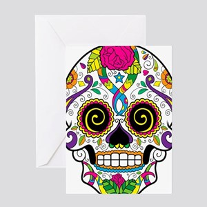 Curly Eyes Sugar Skull Greeting Cards