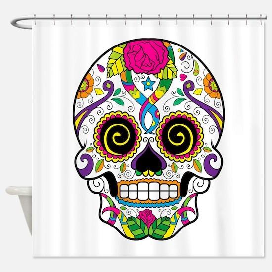 Curly Eyes Sugar Skull Shower Curtain