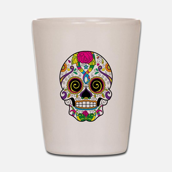 Curly Eyes Sugar Skull Shot Glass