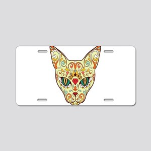 Kitty Sugar Skull Aluminum License Plate