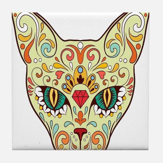 Kitty Sugar Skull Tile Coaster