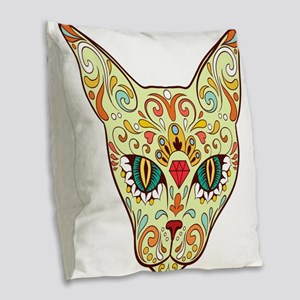 Kitty Sugar Skull Burlap Throw Pillow