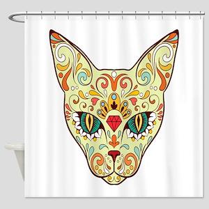 Kitty Sugar Skull Shower Curtain