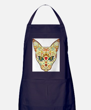 Kitty Sugar Skull Apron (dark)