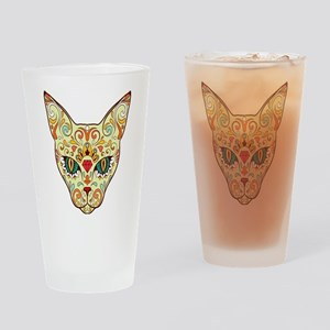 Kitty Sugar Skull Drinking Glass