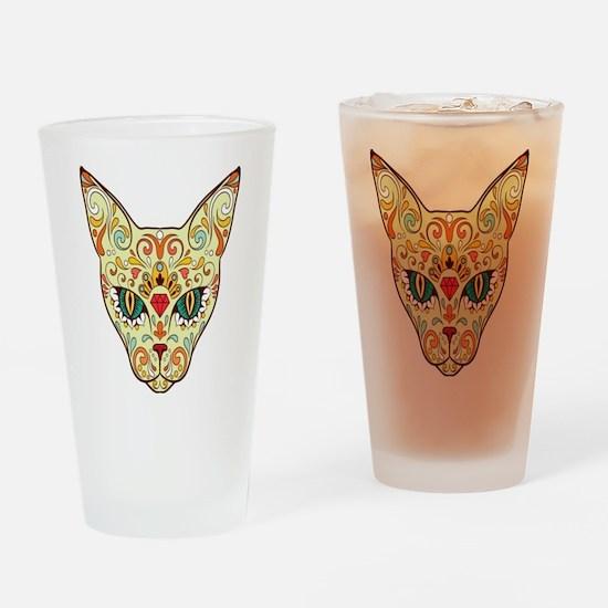 Kitty Sugar Skull Drinking Glass