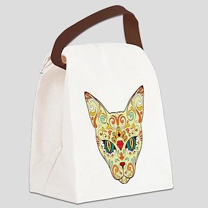 Kitty Sugar Skull Canvas Lunch Bag