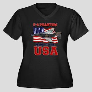 F-4 Phantom Women's Plus Size V-Neck Dark T-Shirt