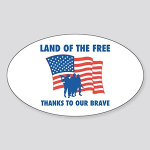 Thanks To Our Brave Oval Sticker