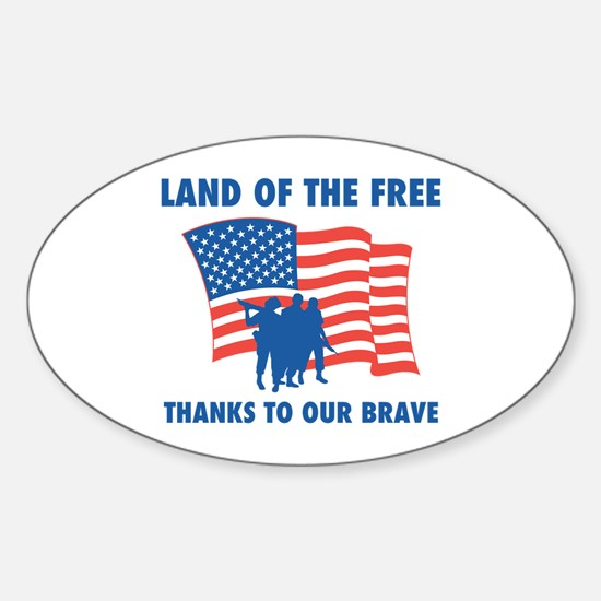 Thanks To Our Brave Oval Decal