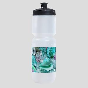Green Seashells And starfish Sports Bottle