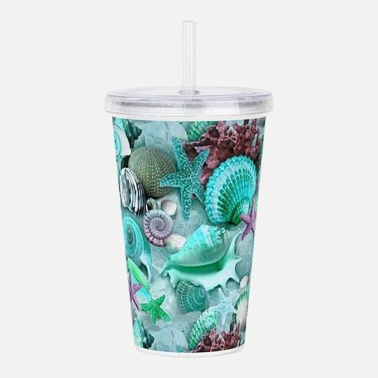 Green Seashells And starfish Acrylic Double-wall T