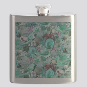 Green Seashells And starfish Flask