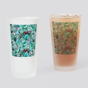Green Seashells And starfish Drinking Glass