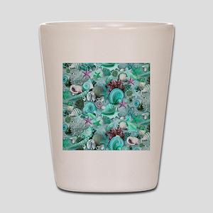 Green Seashells And starfish Shot Glass