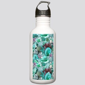 Green Seashells And starfish Water Bottle