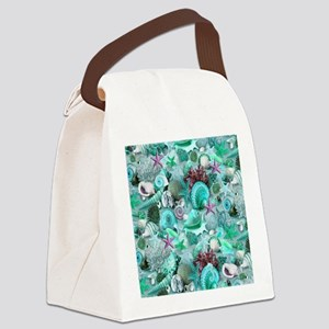 Green Seashells And starfish Canvas Lunch Bag