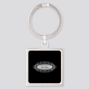 editable silver Square Keychain