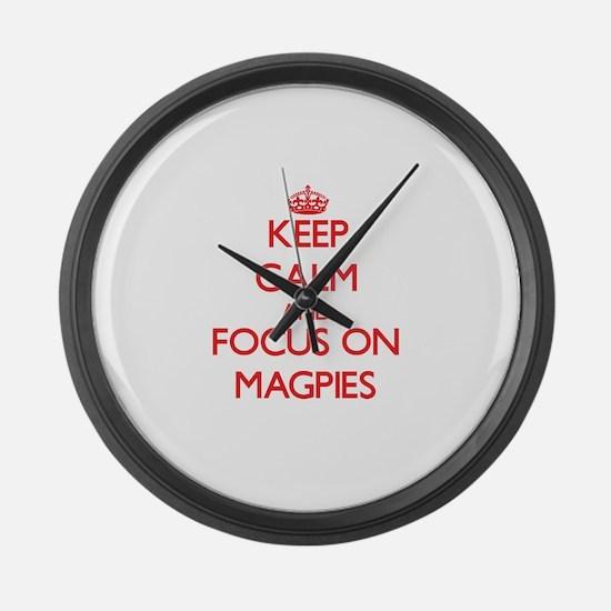 Funny Magpies Large Wall Clock
