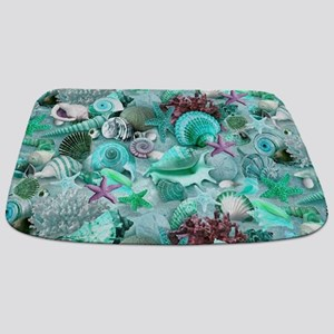 Green Seashells And starfish Bathmat