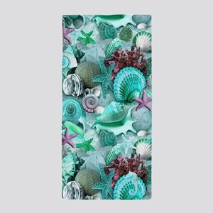 Green Seashells And starfish Beach Towel