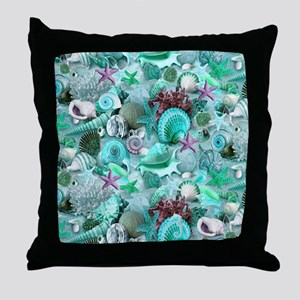 Green Seashells And starfish Throw Pillow