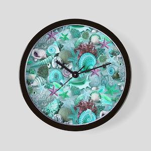 Green Seashells And starfish Wall Clock