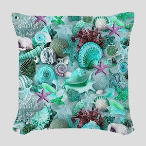 Green Seashells And starfish Woven Throw Pillow
