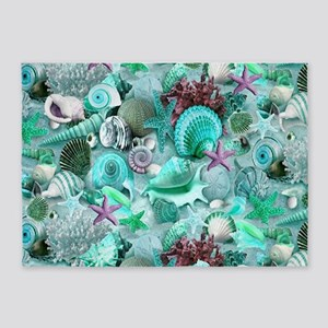 Green Seashells And starfish 5'x7'Area Rug