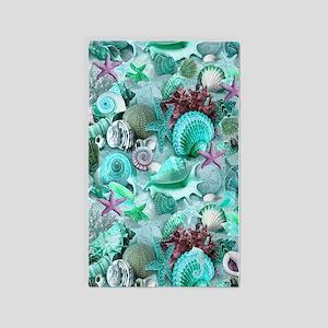 Green Seashells And starfish 3'x5' Area Rug