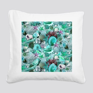 Green Seashells And starfish Square Canvas Pillow