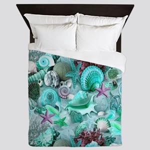 Green Seashells And starfish Queen Duvet