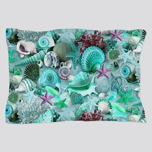 Green Seashells And starfish Pillow Case
