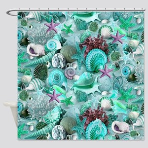 Green Seashells And starfish Shower Curtain