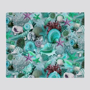 Green Seashells And starfish Throw Blanket