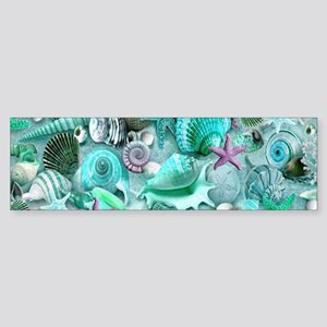 Green Seashells And starfish Bumper Sticker