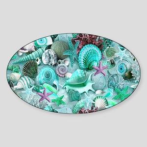 Green Seashells And starfish Sticker