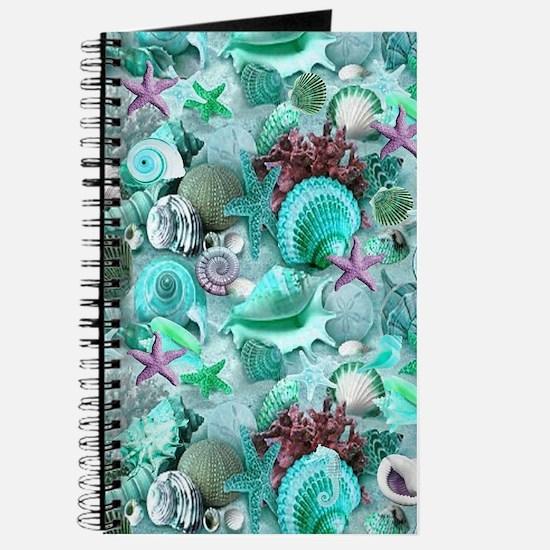 Green Seashells And starfish Journal