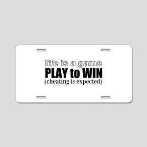 Play To Win Aluminum License Plate
